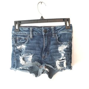 AEO Hi Rise Distressed Shortie Size 0